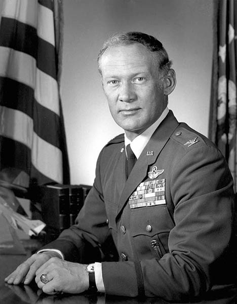 Buzz Aldrin black and white U.S. Air Force dress uniform portrait.