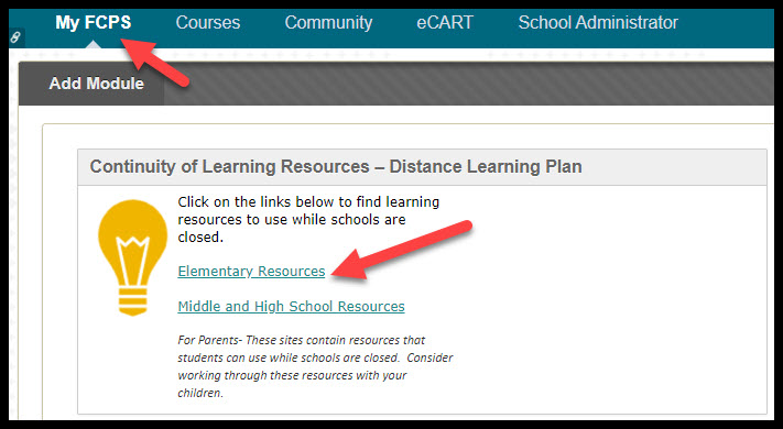 screen shot of 24/7 parent page arrow pointing to My FCPS and Elementary Resources