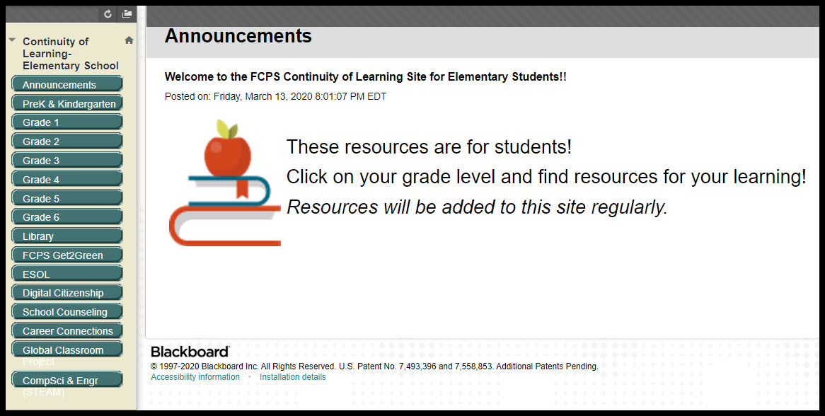 screen shot of menu by grade level of online learning resources