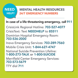 Mental Health resources 24/7 emergency numbers